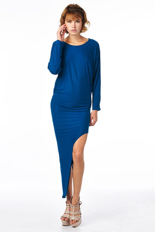 Teal Asymmetrical Dolman Dress