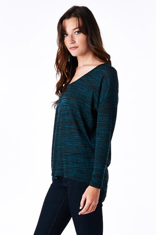 Teal Hacci High-Low Dolman Top