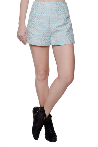 Teal Printed High Waisted Shorts