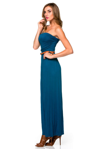 Teal Ruched Tube Top Maxi Dress with Woven Belt