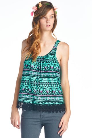 Teal Tribal Print Tank with Lace Hem