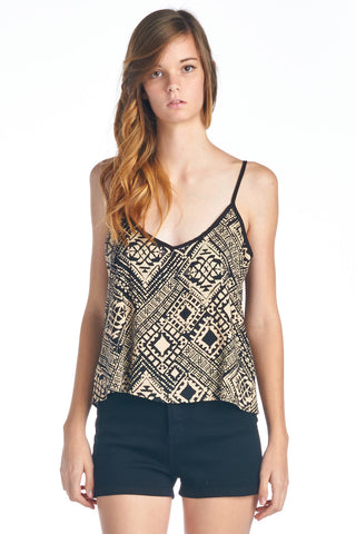Tribal Print Lattice Back Tank