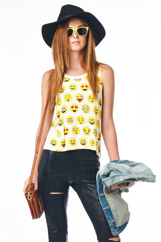 White Emoji Filled Crop Muscle Tank Festival Fun Fashion