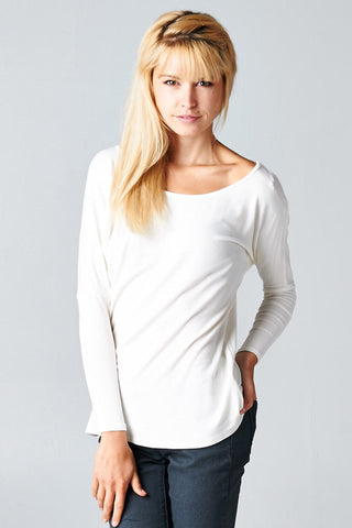 White Long Sleeve Dolman Top