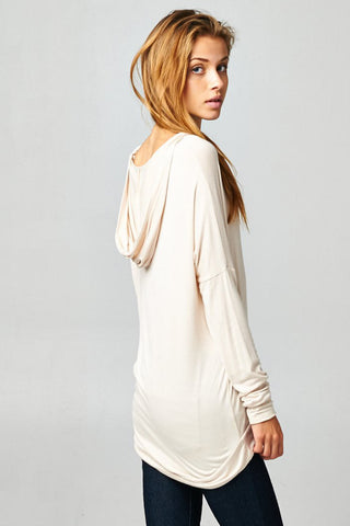 White Pullover Dolman Hoodie With Pockets