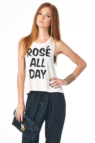 White Rosé All Day Muscle Tank