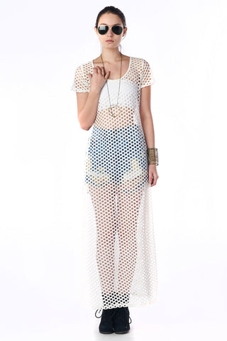 White Short Sleeved Netted Maxi Dress