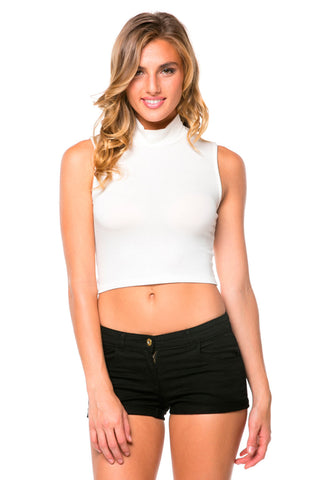 White Sleeveless Mock Neck Crop Top