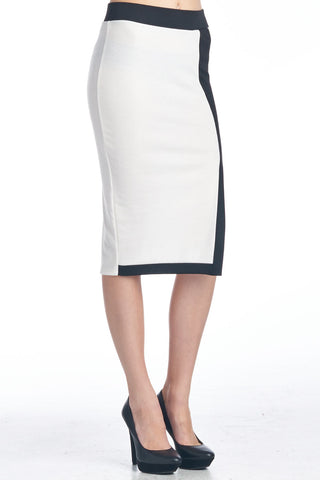 White Colorblock Midi Skirt