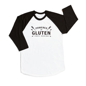 Powered by Gluten Ringer Shirt by 33 Books Co.