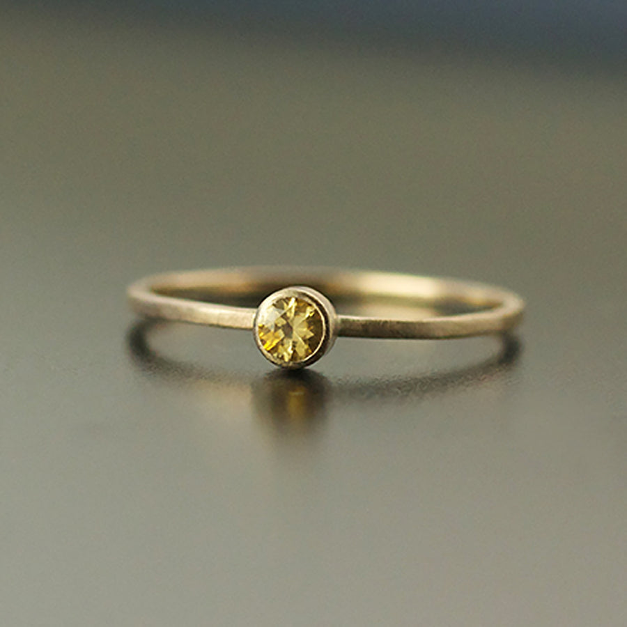 3mm Yellow Montana Sapphire 14K Gold Ring by VK Designs