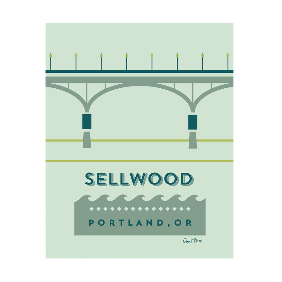 Sellwood-Moreland Bridge 8x10 Print by April Black