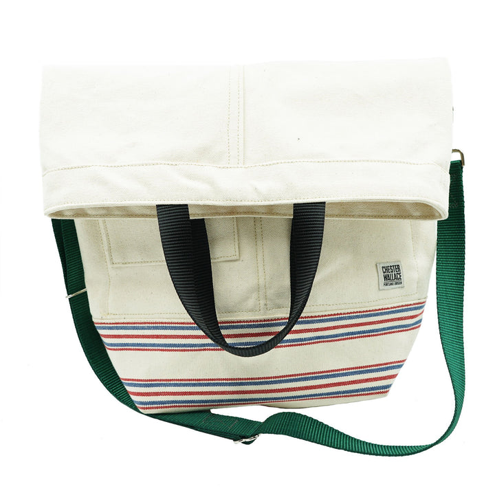 Upright Tote Natural/Stripe + Green Strap Chester Wallace