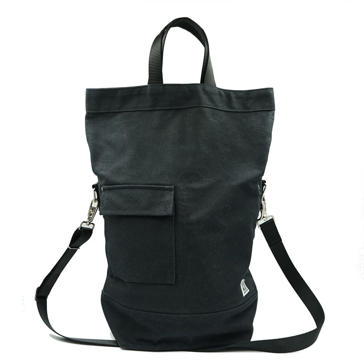Upright Tote Black Waxed/Black + Black Strap Chester Wallace