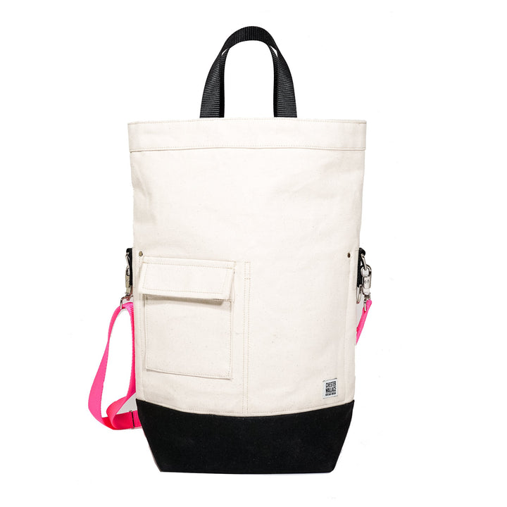 Upright Bag Natural/Black + Pink Strap Chester Wallace
