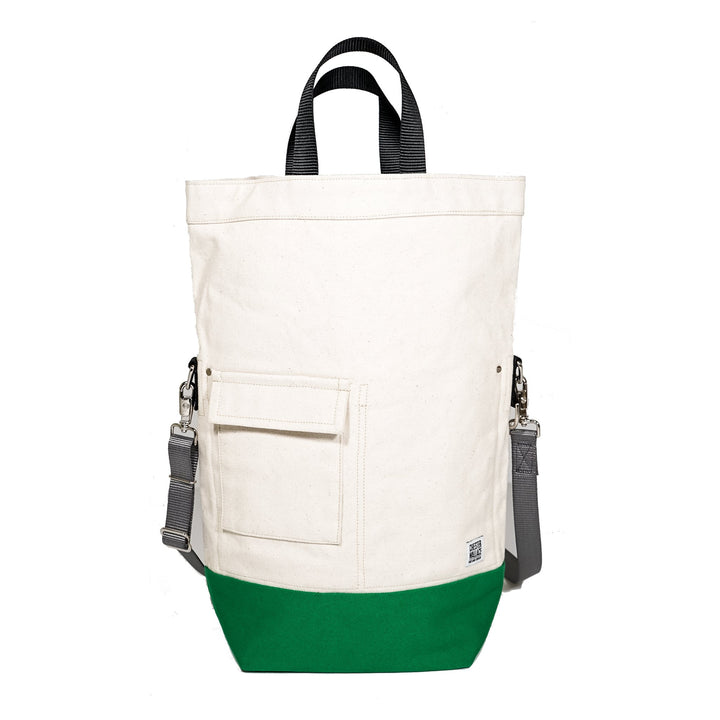Upright Bag Natural/Green + Grey Strap Chester Wallace