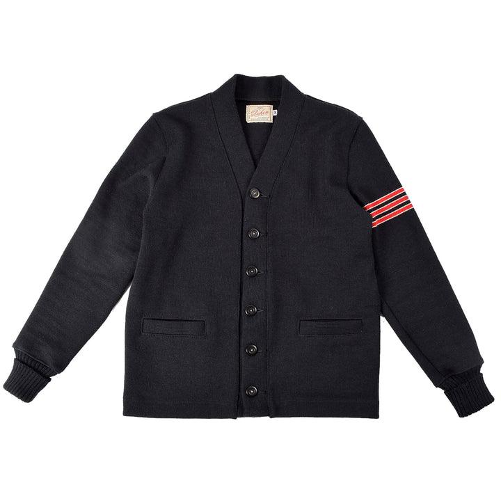 Varsity Cardigan Black/Red Stripe by Dehen 1920