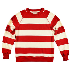 Scarlet Striped Raglan Crew Sweater by Dehen 1920