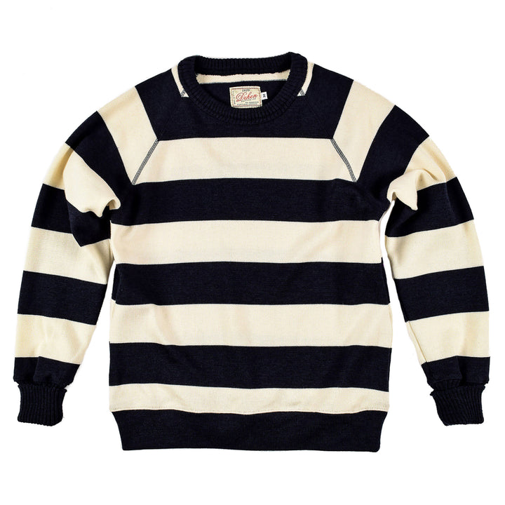 Dark Navy Striped Raglan Crew Sweater by Dehen 1920
