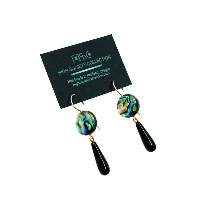 Abalone with Black Onyx Drop Earrings by High Society Collection