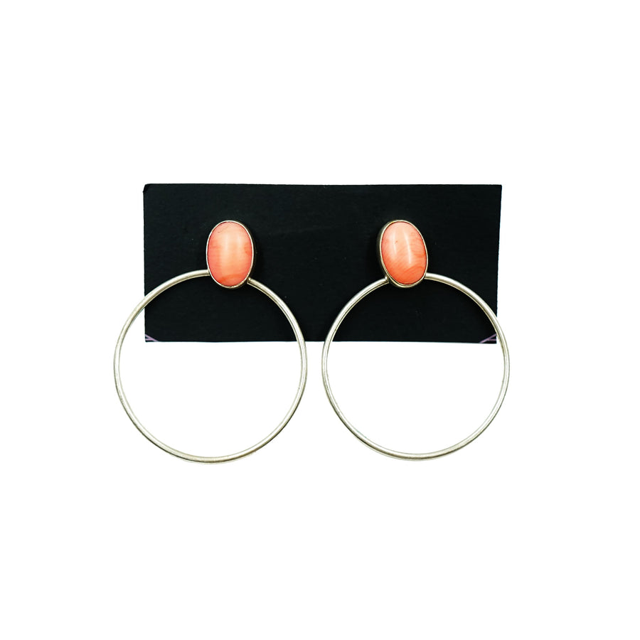 Silver Coral Bezel Set Hoops High Society Collection