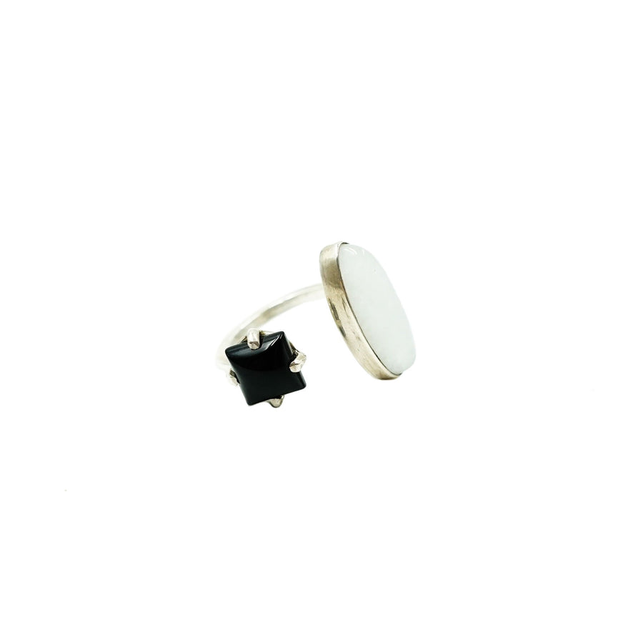 Black Onyx Square Stone & Quartz Ring 7 by High Society Collection