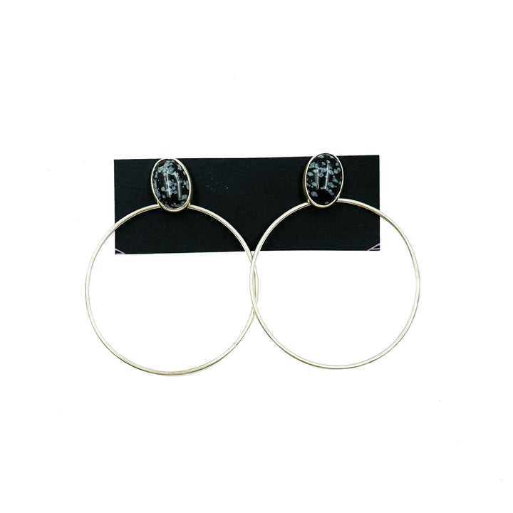 Snowflake Obsidian Bezel Set Silver Hoop Earrings by High Society Collection
