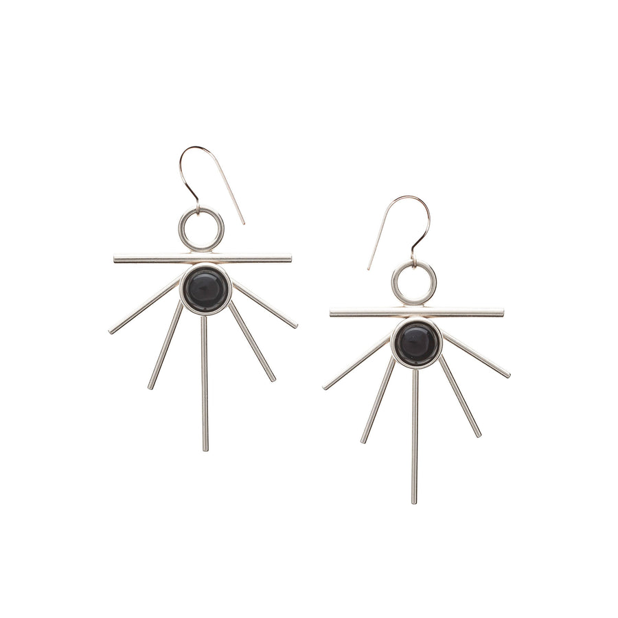 Silver Sunburst Earrings by High Society Collection