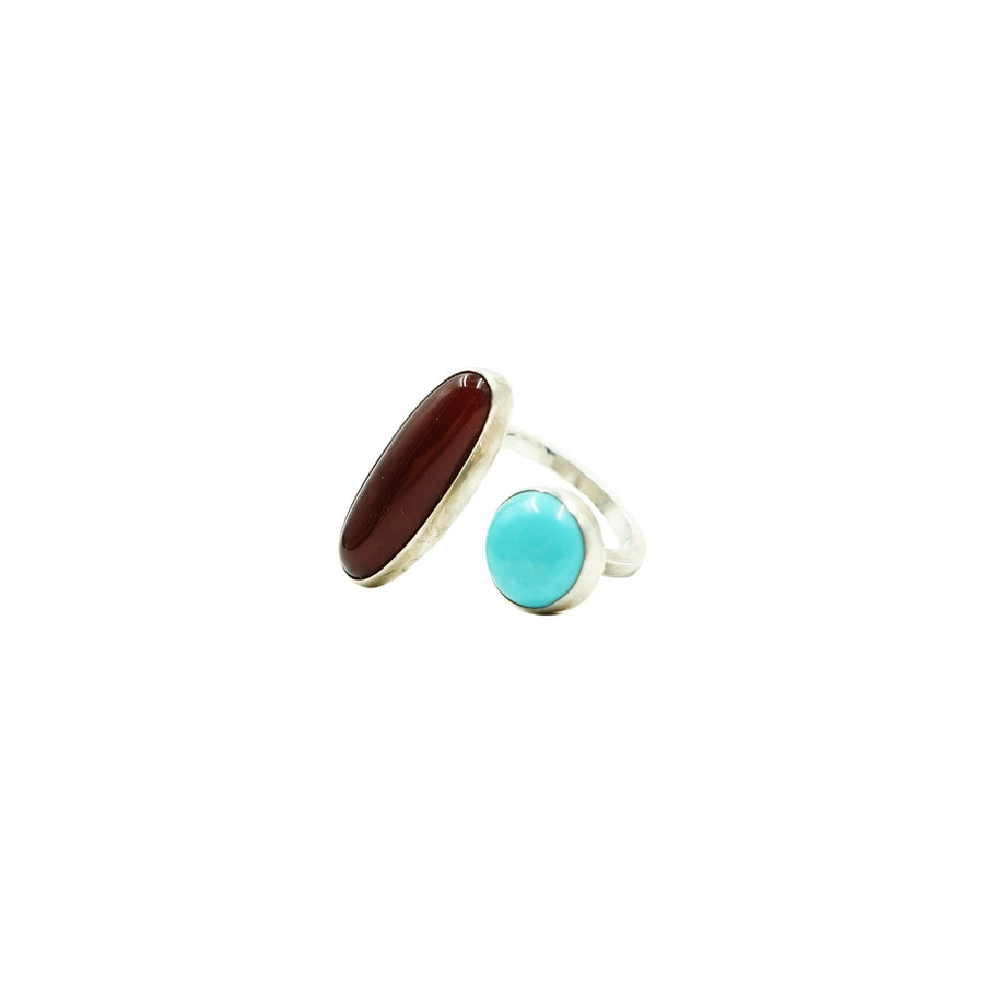 Sleeping Beauty Turquoise & Garnet Ring 6 by High Society Collection