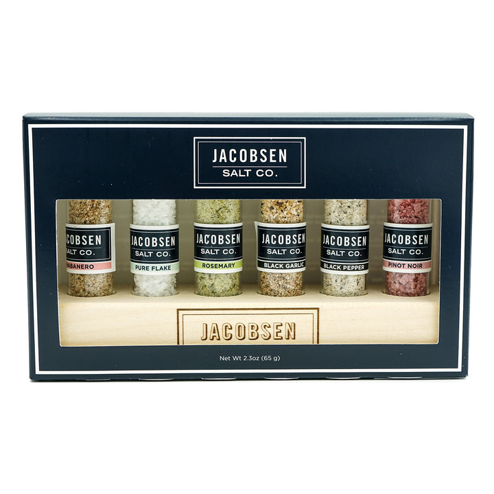 Jacobsen Salt Co. Wooden Stand 6-Vial Infused Salt Set