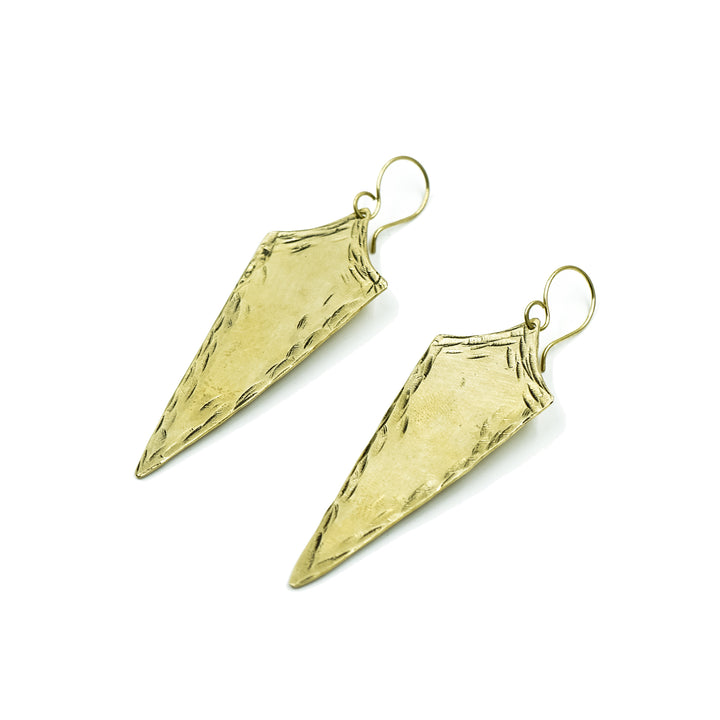 Warrior Earrings in Brass