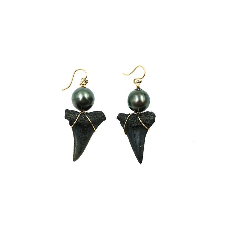 Pelagic Time Traveler Earrings with Tahitian Pearl & Fossil Great White Shark Teeth