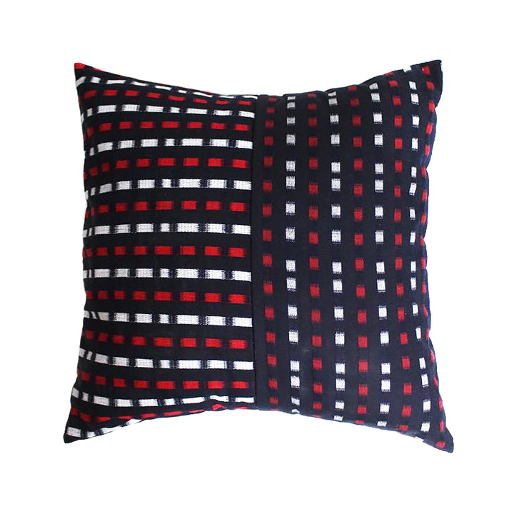 Red + White Block Shima Split Kasuri Pillow by Kiriko