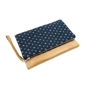 Foldable Leather Clutch Kasuri-Ori Blue And White