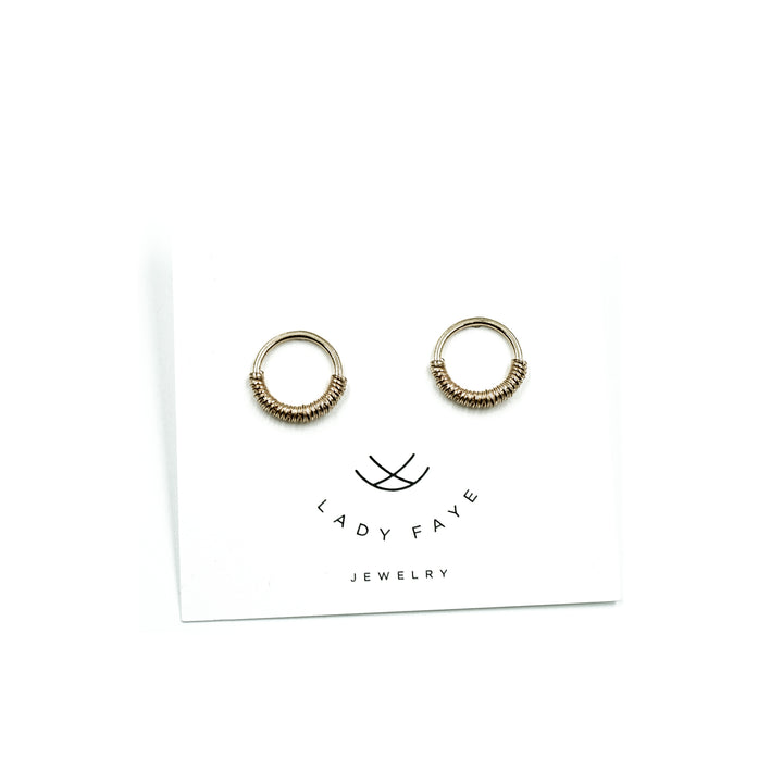 Serpentine 14k Yellow Gold Coil Hoop Post Earrings