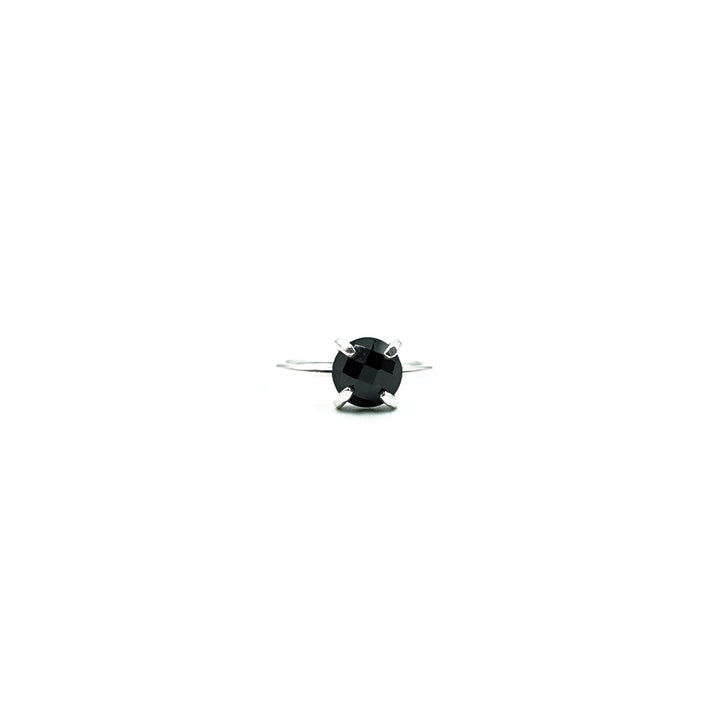 Round Onyx Silver Ring