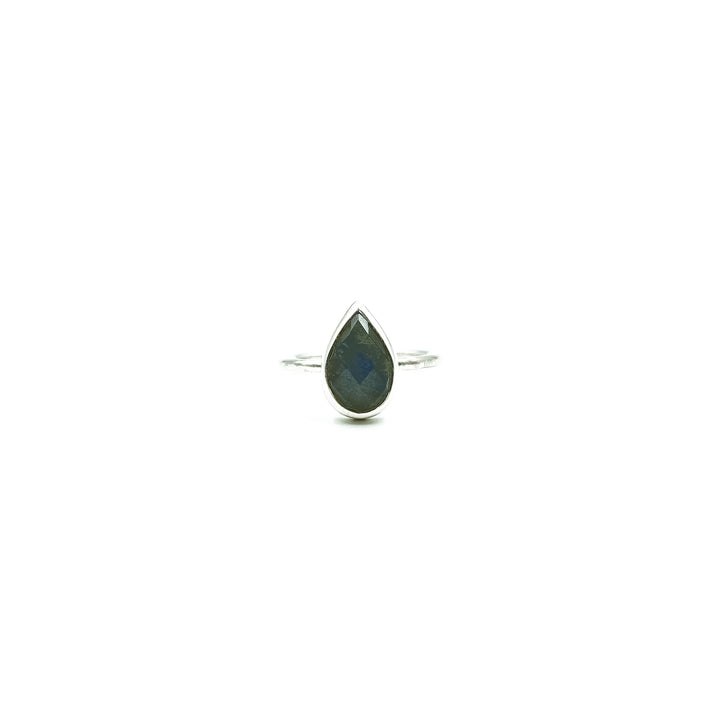 Tear Drop Labradorite Silver Ring