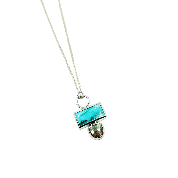 Turquoise + Labradorite Silver Necklace by Lady Faye