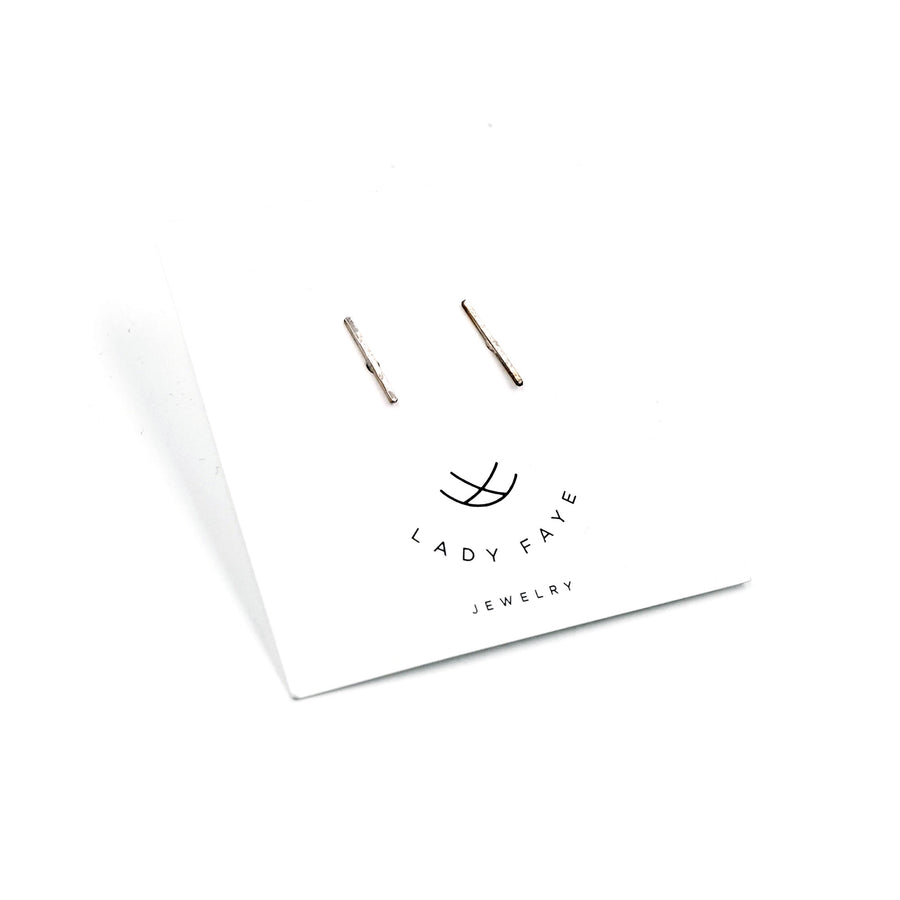 Hammered Silver Bar Earring by Lady Faye