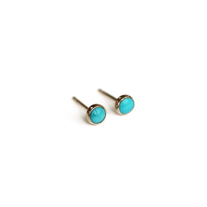 Round Turquoise 14k Gold Post Earring by Lady Faye