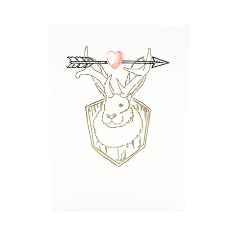 Jackalope With Heart and Arrow Card