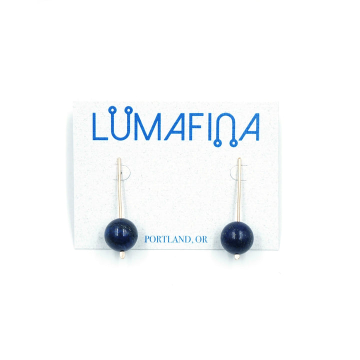 Gold Fill Short Orb Earring Lapis by Lumafina
