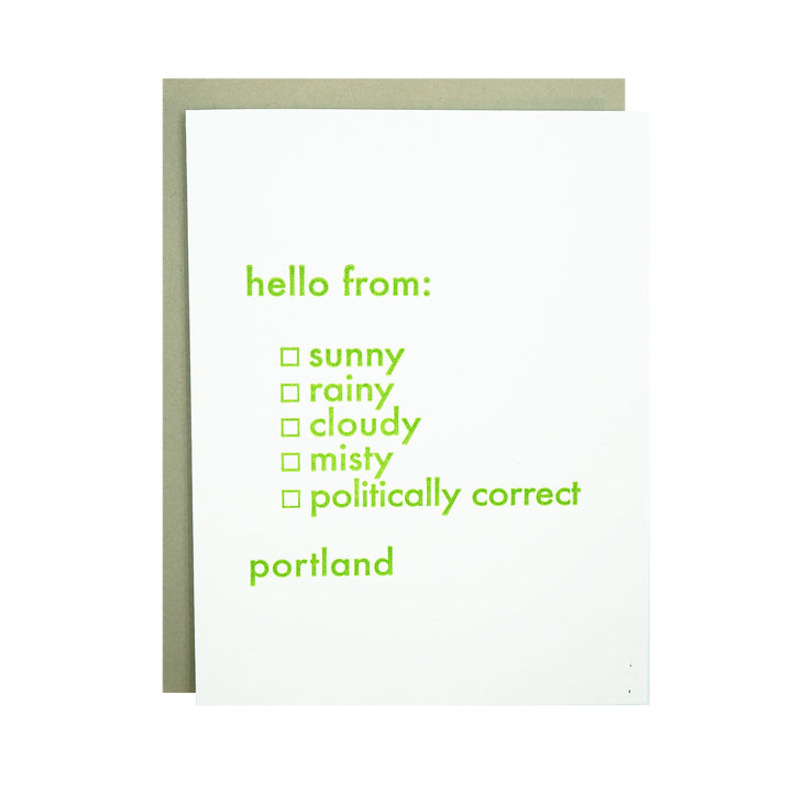 Hello From Portland Card by MadeHere