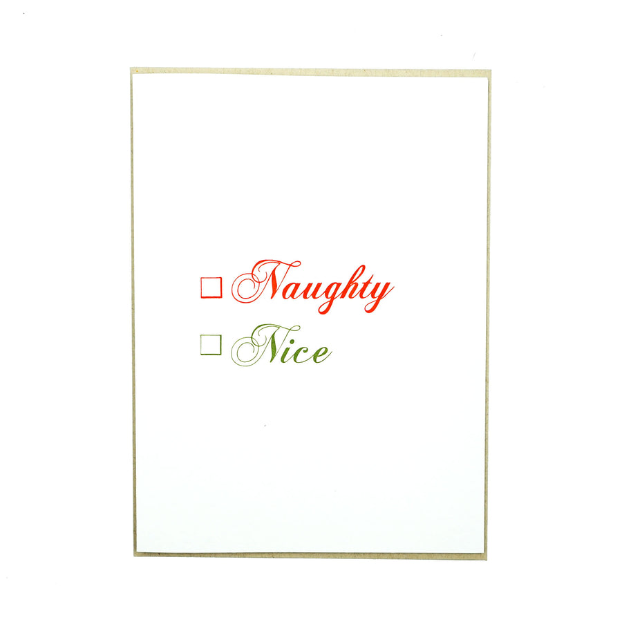 Naughty Nice Card by MadeHere PDX Portland Holiday Card