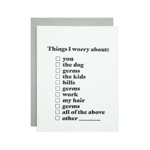 Things I Worry About Card by MadeHere PDX