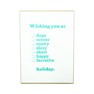 Wishing You a Check Box Card by MadeHere Portland Holiday