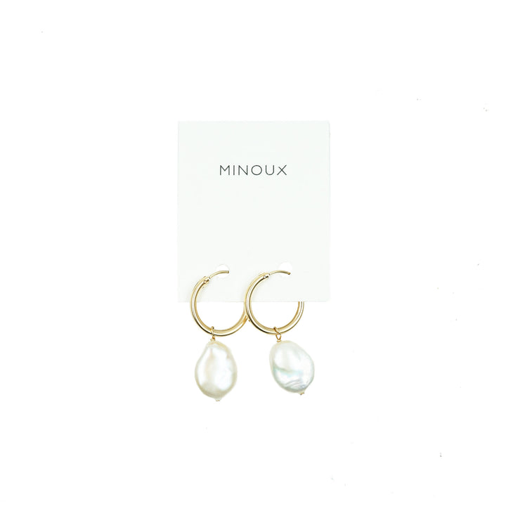 14k Gold Fill Hoops + Freshwater Coin Pearl by Minoux