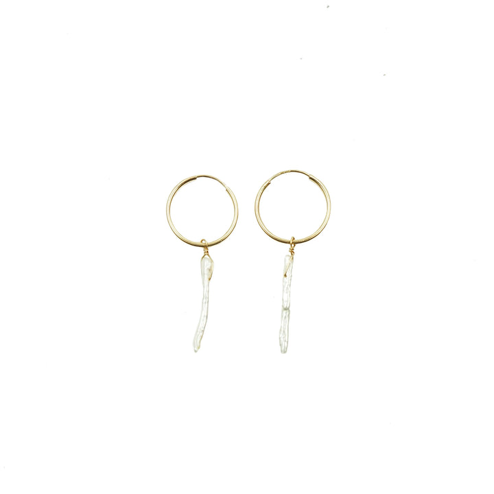 Tiny Gold Endless Hoops with Pearls by Minoux
