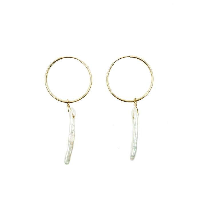 Large 14k Gold Endless Hoops with Pearls by Minoux