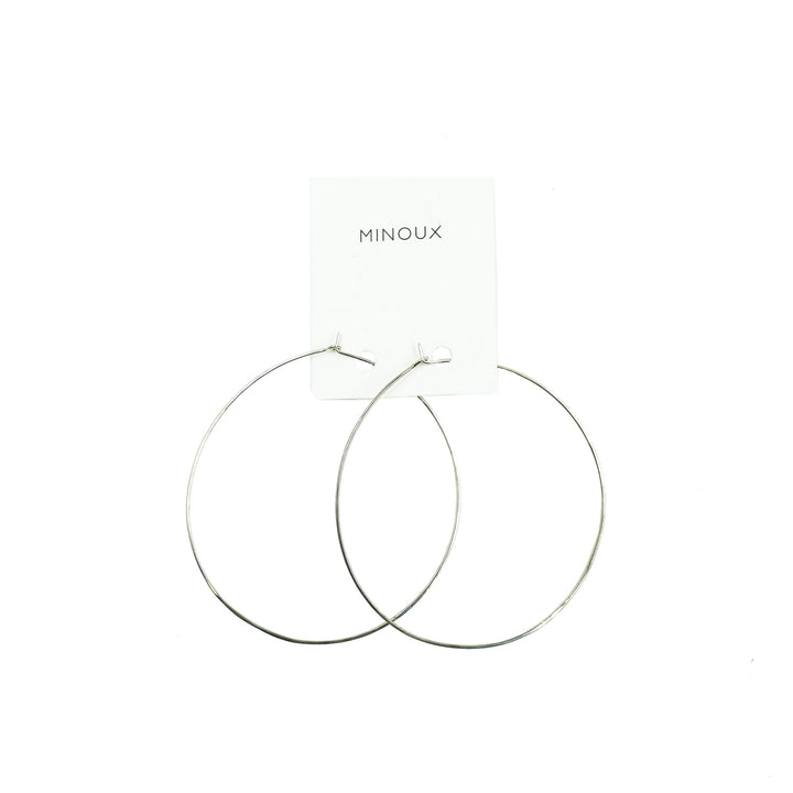 Large Round Slender Sterling Silver Hoops by Minoux